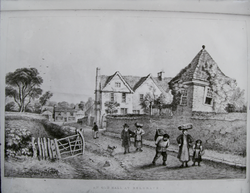 "John Flowers' Drawings - ""An old hall at Belgrave"""
