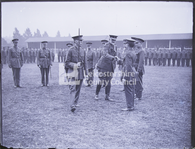 The Duke of Rutland inspecting recruits in Victoria Park