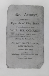 Poster advertising Daniel Lambert, 50 stone man