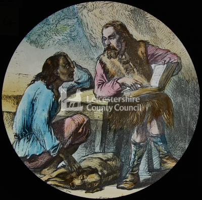 Robinson Crusoe seated at a table