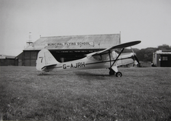 Auster aircraft outside Municipal Flying School