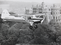 Beagle Husky flying over Belvoir castle, 1962