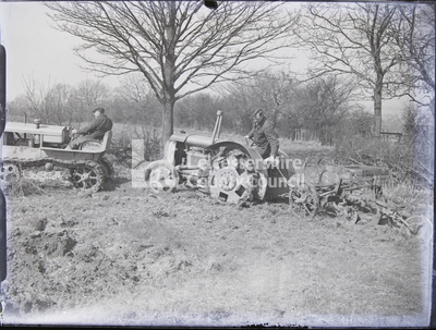 Cletrac and Fordson tractor, pulling plough