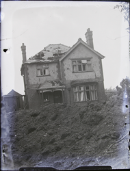 Glen Parva: Shelled house on hill