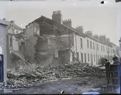 Glen Parva: Row of bombed flats from street