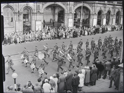 Parade - military band by rail station -Lord Mayor's Show 1961