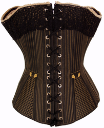 Black front busk corset, 1875: Back view