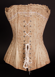 Ventilated corset with removable busk, 1885: Back view