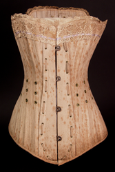 Ventilated corset with removable busk, 1885